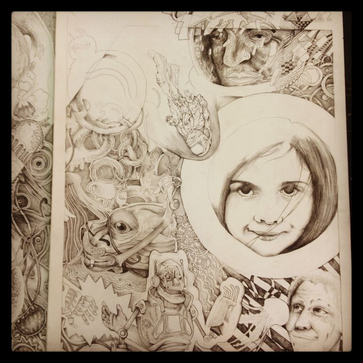 Art design  young woman sketch fish bird chameleon tribal south Africa elephants space man me robot