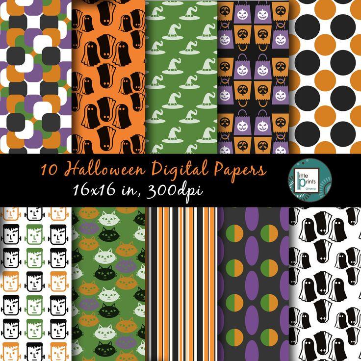 Halloween Digital Paper - Halloween Scrapbook Paper, Printable Halloween, Halloween Background, Halloween Scrapbook - pinned by pin4etsy.com