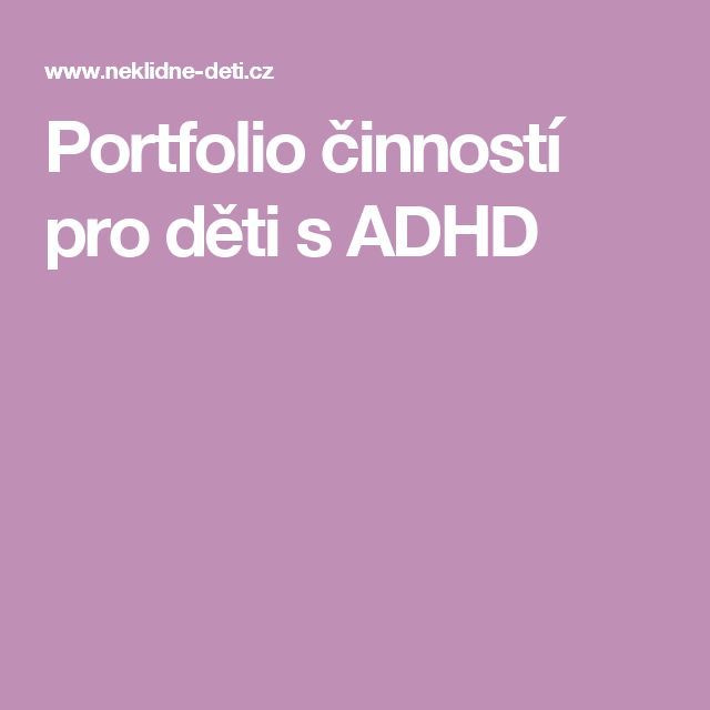 Portfolio činností pro děti s ADHD