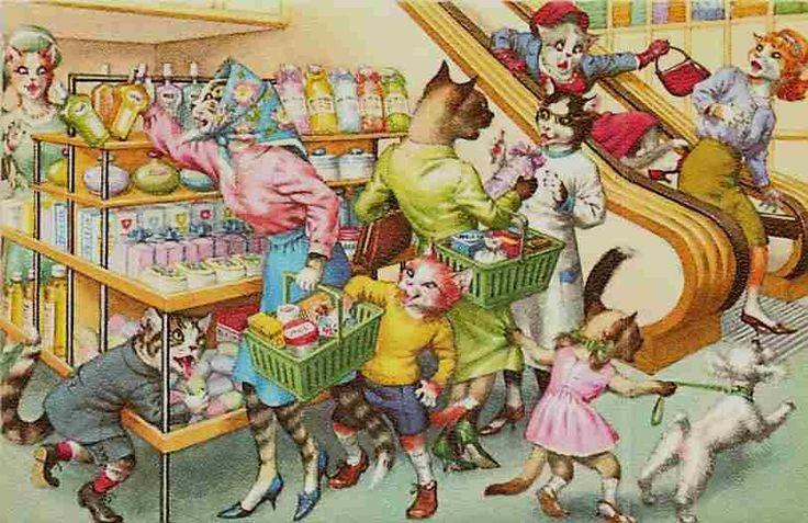 Alfred Mainzer Cats Store Shopping - Artist: Eugen Hartung