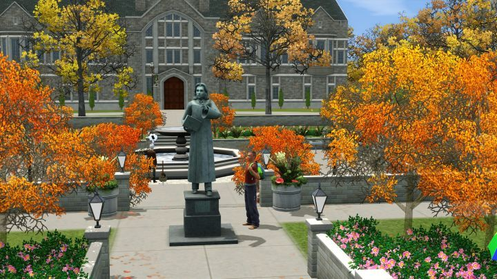 The Sims 3 University Life - A Sim enjoys the beautiful landscaping of the University campus