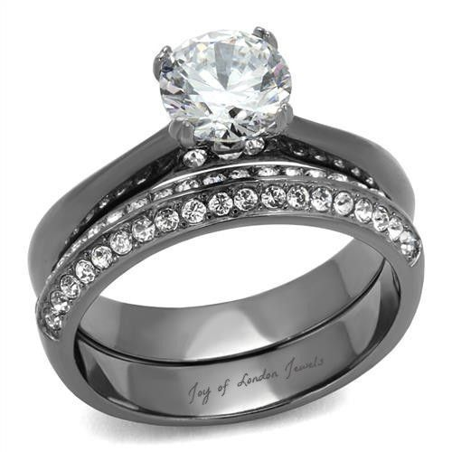1.7CT Round Cut Solitaire Russian Lab Diamond Light Black Bridal Set Wedding Rin...