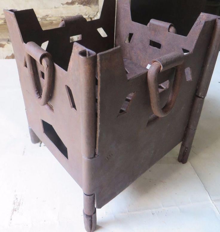 Mini Iron Firepit Wood Burning Folding Outdoor Asian Orign Circa 1900 Rare Handcrafted