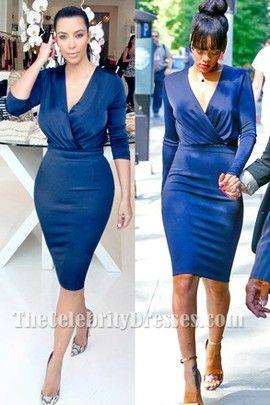 Rihanna And Kim Kardashian Navy Blue Long Sleeve Knee Length Dress - TheCelebrityDresses