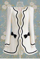 Ladylike Collarless Black Hem Bowknot Embellished Slimming Long Sleeves Blended Coat £53.95 ($85.24)