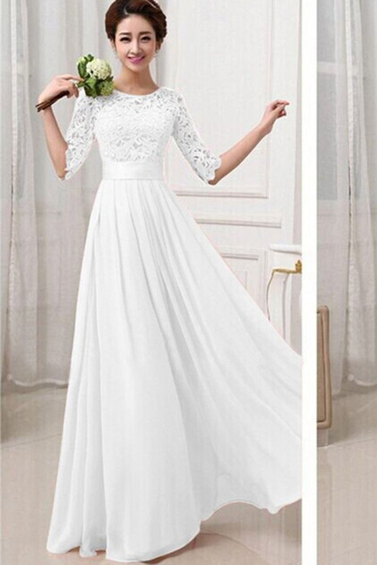 Lace Chiffon Patchwork High Waist Half Sleeves Long Party Dress – Fabia