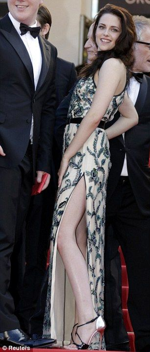 Looking leggy: Actress Kristen Stewart shows off some leg in a halterneck Balenciaga gown at the world premiere of On The Road at the Cannes Film Festival