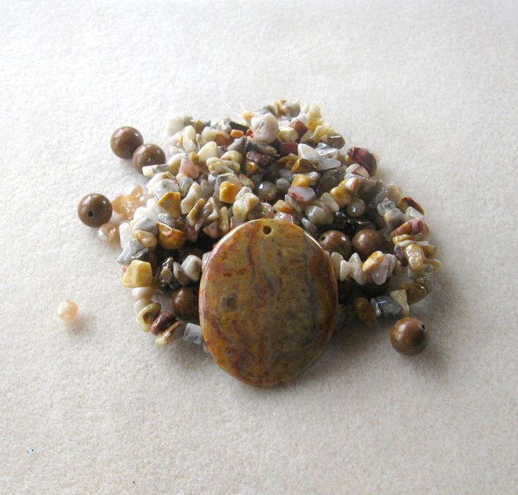 Crazy Lace Agate, Wood Jasper, Glass Beads, DIY Jewelry Kit, Jewelry Making Beads, Bead Kit, Gemstone Bead, Necklace Kit, Chip Beads, Design by CatsBeadKitsandMore on Etsy