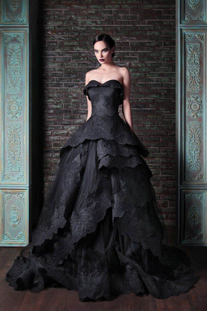 Stunning black wedding dress. Rami Kadi Fall 2014 Collection. www.theweddingnotebook.com
