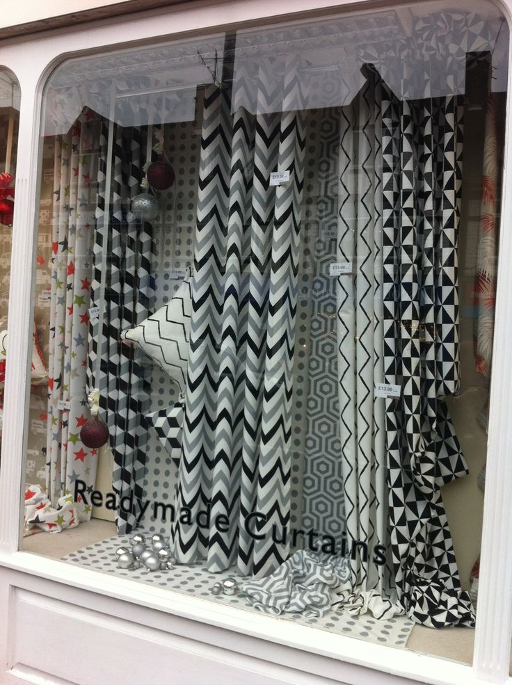 Monochrome window display by The Fabric Place in Orpington featuring our geometric Cube collection... http://www.prestigious.co.uk/collections/cube