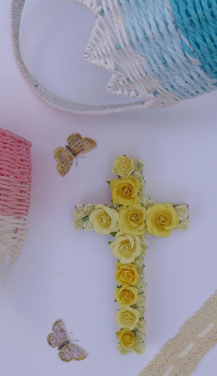 81 best baptism gifts images on pinterest easter decorations easter decor easter gift rustic cross easter basket gift negle Images