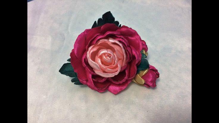 DIY Satin ribbon rose, satin ribbon flower tutorial,how to,kanzashirose