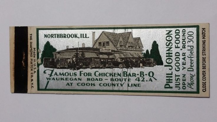 Matchbook from phil johnson 39 s restaurant deerfield il for Northbrook building department