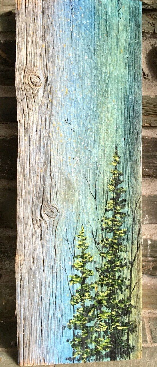 Landscape of Trees Painted on Recycled Vermont Barn Board, Wood Art, Repurposed Art