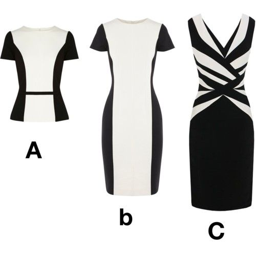 How to create a slimmer waist - Use vertical panel lines to lengthen the body as in picture A & B.  The horizontal line at the waist on the top of picture A creates  the illusion of a small waist as it only goes across a short distance.Find out more waist defining tips at http://www.imagesense.com.au/define-waist/