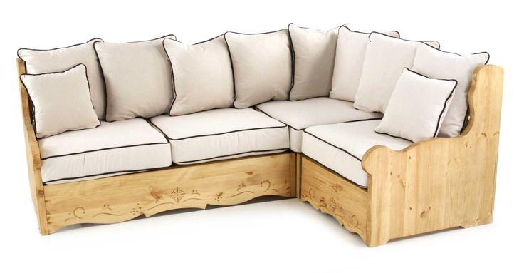 Canapé d'angle modulable Dahu passepoil beige.