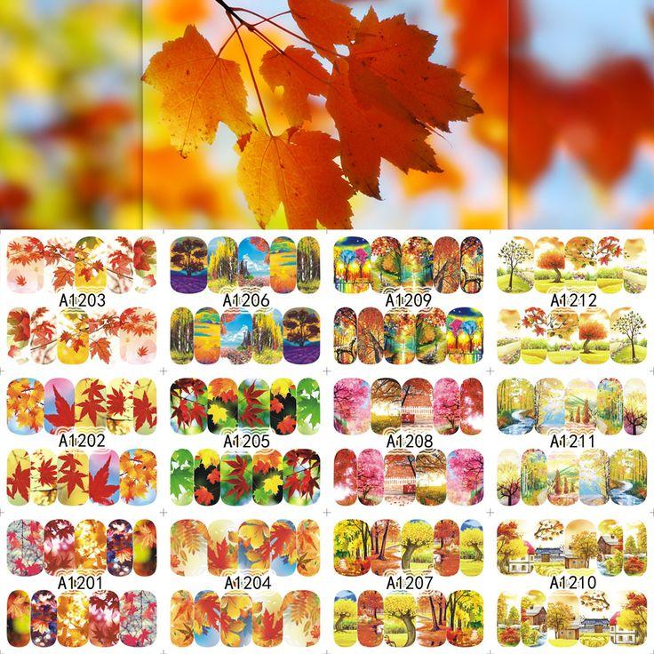12 Lembar Kuku Stiker Penutup Penuh Musim Gugur Daun Maple Landscape Desain Decals Stiker Wrap Tips Dekorasi