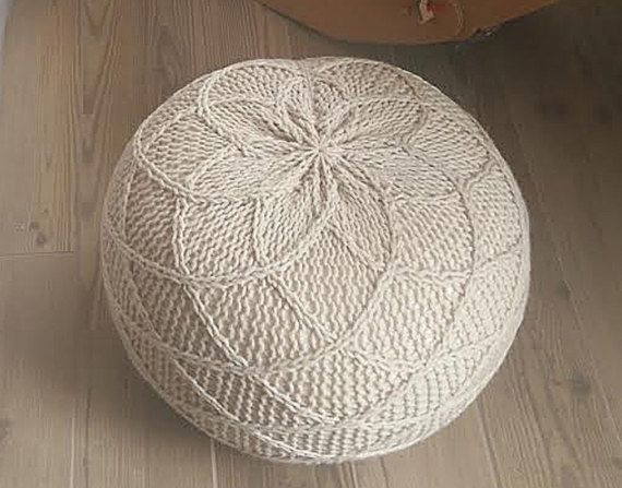 KNITTING PATTERN Knitted Pouf Pattern Poof Knitting By IsWoolish