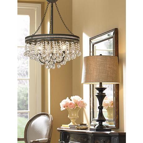 """Regina Olive Bronze 19"""" Wide Crystal Chandelier Dining Room Light"""