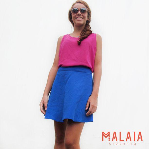 ☆Live in color ☆ Blusa #sophy doble capa en fucsia y falda #lily en azul #malaia #marcaEcuatoriana #DMwall