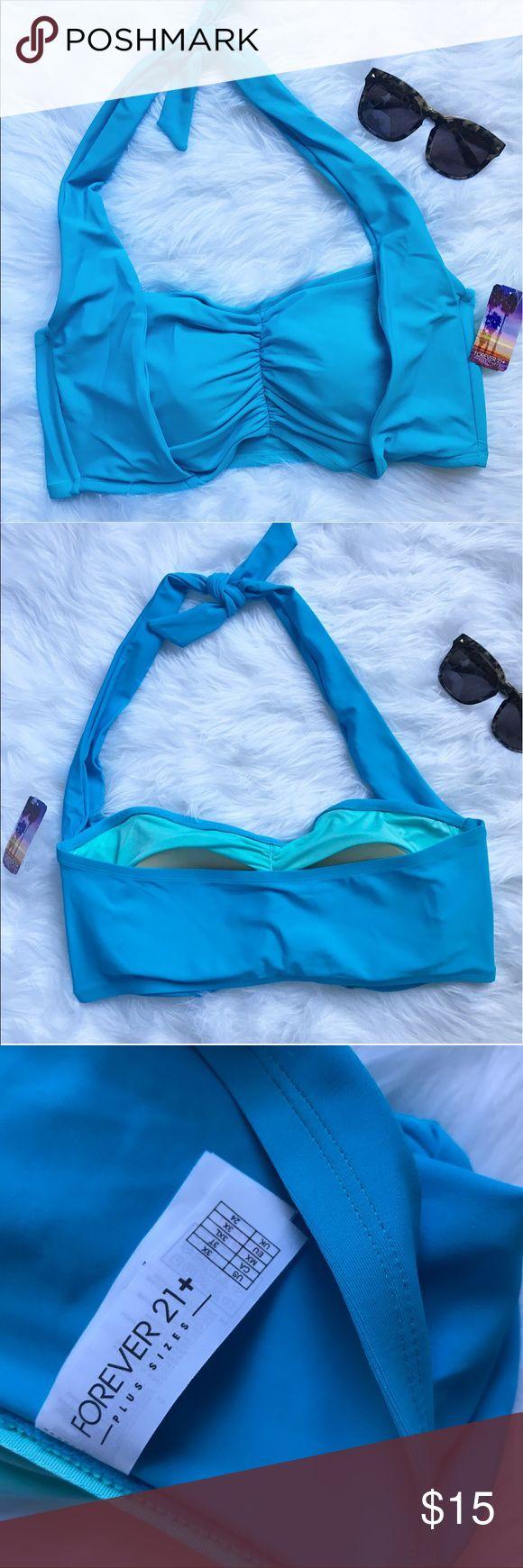 NEW 3x plus size bandeau halter bikini top NEW with tags 3x plus size bandeau halter bikini top . Blue Forever 21 Swim Bikinis