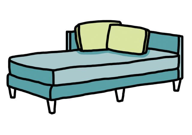 """Chaise derives from the term """"chaise lounge,"""" meaning long chair. This illustration recalls a more contemporary shape, but the seat can also be contoured to your back"""