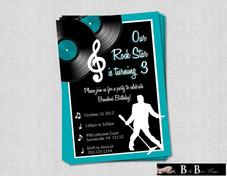 Rock & Roll Music Birthday Party Invitation by BabyBunsDesigns, $12.50