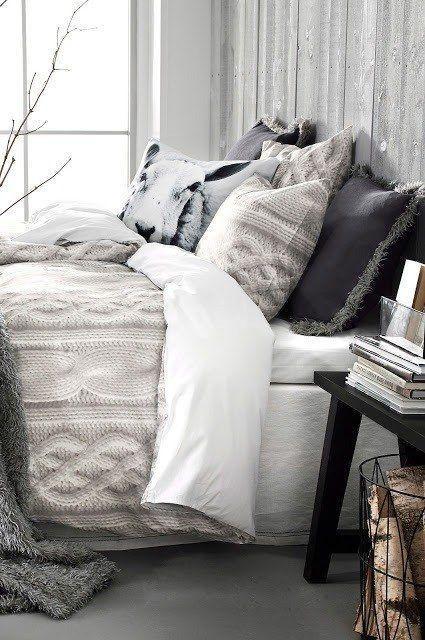 cable knit duvet cover, cable knit pillows, faux fur trimmed pillows, neutrals bedding cozy winter rustic