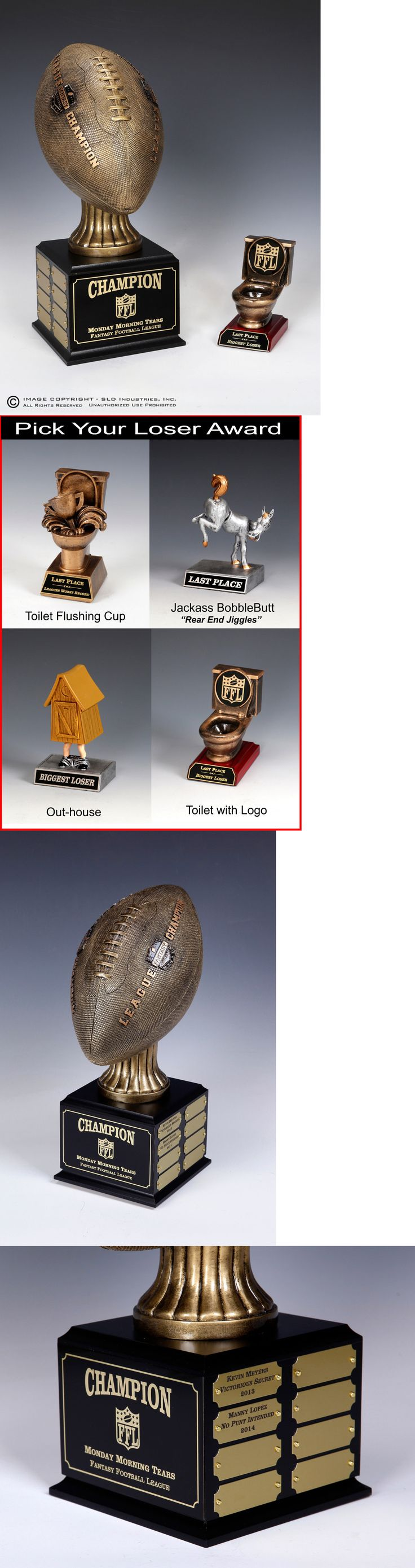 Other Football 2024: Fantasy Football Perpetual Trophy 16 Yr Combo With Loser-Last Place Award-Toilet -> BUY IT NOW ONLY: $99.9 on eBay!