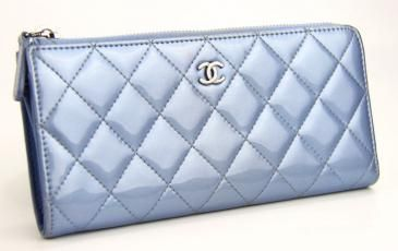 Chanel Quilted Zip Long Wallet In Baby Blue Patent Leather $580