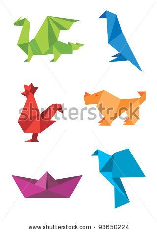 Illustration Of Set Origami Colorful Icons Animals And Boat Vector Art Clipart Stock Vectors