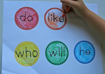 """Kids color the sight words to put on the word wall themselves!  Each kid could """"own"""" one of the sight words!  What a great way for them to learn them.  I bet they learn their friends word too!"""