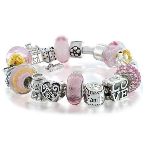 Bling Jewelry Family Love Mother Beads Bracelet Pink 925 Silver Pandora Style