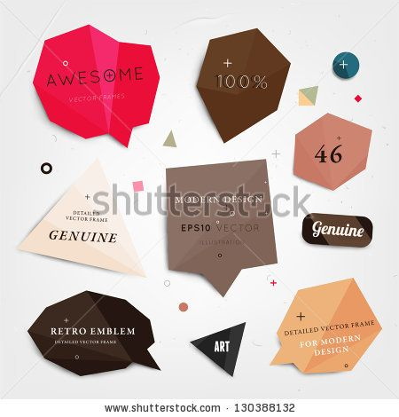 Labels vector set, modern style. Abstract futuristic design bubbles collection, vector. by Ozerina Anna, via ShutterStock