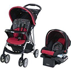 Graco LiteRider Click Connect Travel System, Chalk Art, Canopy with peek-a-boo window Red
