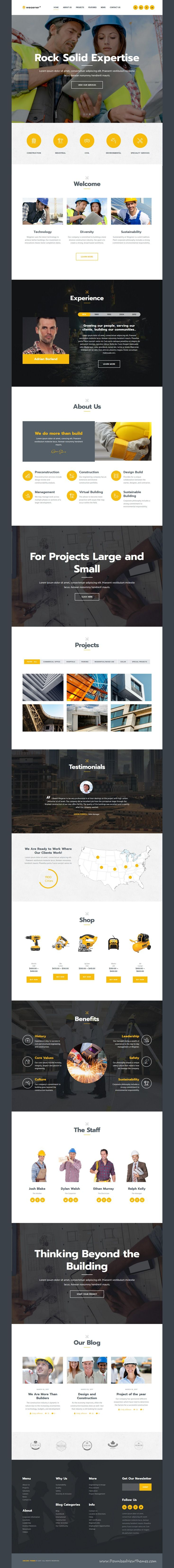 Wegener is clean and modern design 3in1 responsive WordPress #template for #construction and #engineering company website to live preview & download click on Visit
