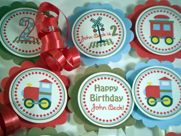 TRAIN Cupcake Toppers - Choo Choo Train -Party Decorations by 10 Candles - Birthday - Baby Shower -Red, Brown and Light Blue. $10.00, via Etsy.
