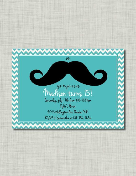 Tiffany Blue Mustache Birthday girl Invitation by BusyChickadees, $10.00