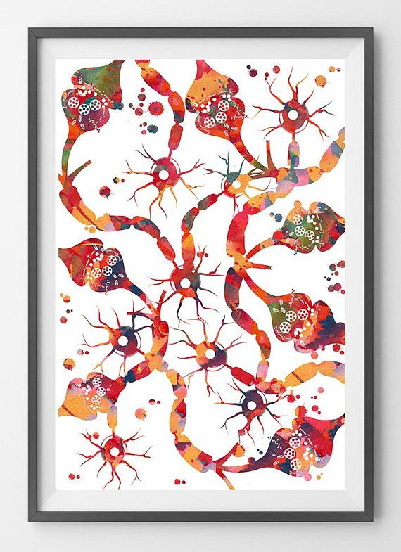 Neurons and Synapse Watercolor Print Brain Connections Poster