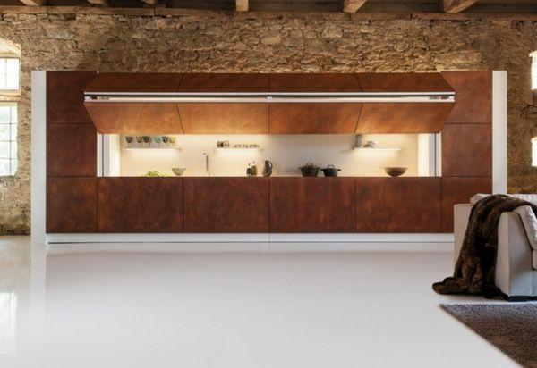 moderne versteckte küche - per knopfdruck