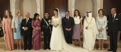 Left to Rt - Queen Noor of Jordan (wife of late King Hussein), Queen Anne-Marie of Greece, Prince Hassan and Princess Sarvath, King Abdullah II of Jordan, Queen Rania of Jordan, King Hamad bin Isa Al Khalifa of Bahrain, Queen Sofia of Spain, Duke of Edinburgh - The Royal Order of Sartorial Splendor: Wedding Wednesday: A Royal Wedding in Jordan