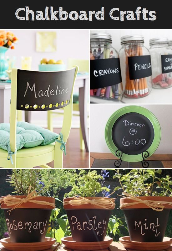 Chalkboard Paint IdeasChalkboard craft paint can be used on just about any surface, so you're not limited by your imagination. DIY chalkboard crafts can be used on furniture, pots, cups, jars, jewelry boxes, clipboards, books, labels, storage bins, or anything else you can think up. It looks clean and stylish but is also a functional tool for labeling.