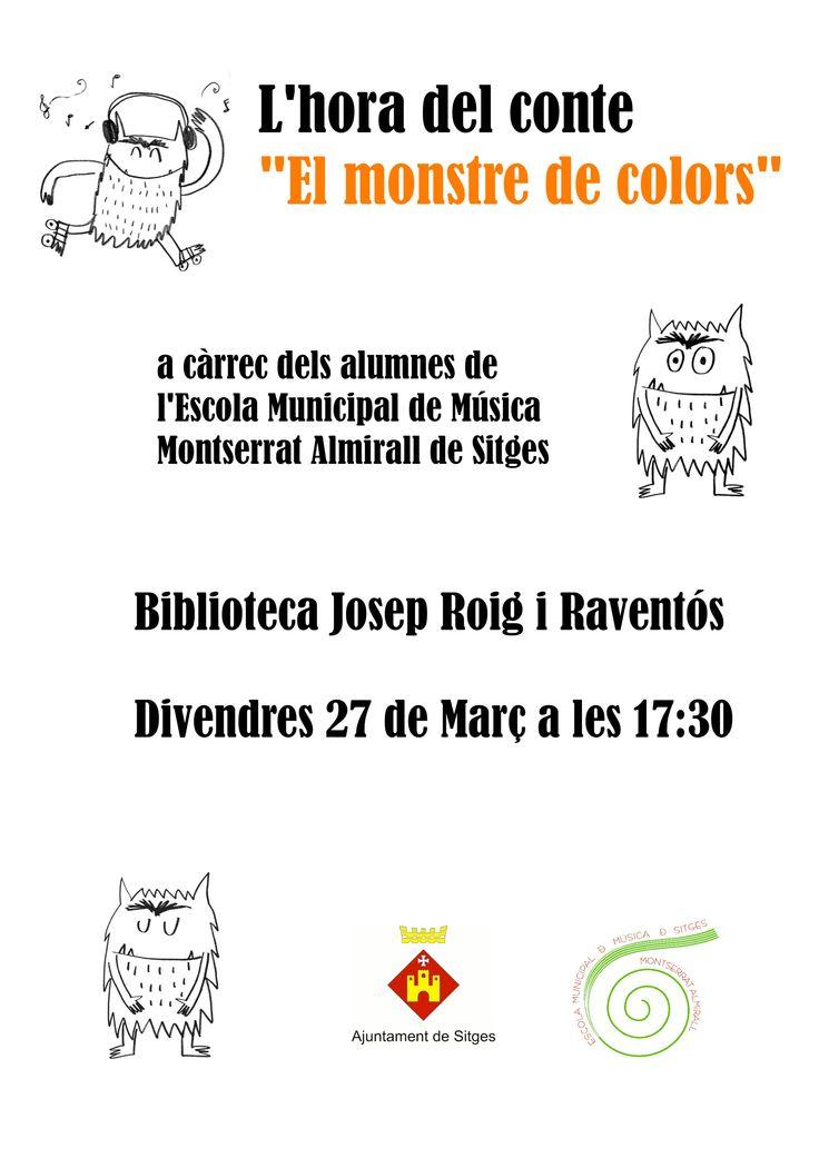 """L'Hora del conte: """"El monstre de colors"""" Biblioteca Josep Roig i Raventós 27.03.2015"""
