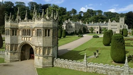 The 17th-century gatehouse and driveway leading to Lanhydrock in Cornwall