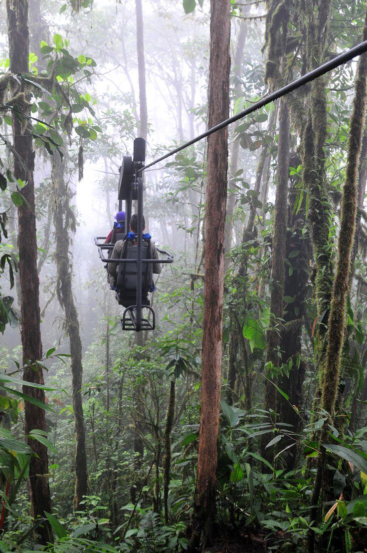 Viajar en el cielo de la bici a través de un bosque nublado andino de Ecuador en el mando a distancia Mashpi Logia.