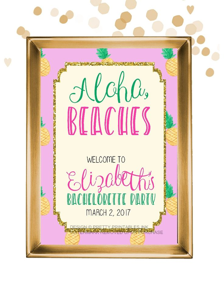 Printable bachelorette signs - SET OF 5 / bachelorette decor / pineapple bachelorette signs / beach bachelorette signs / aloha beaches sign by PrettyPrintablesInk on Etsy