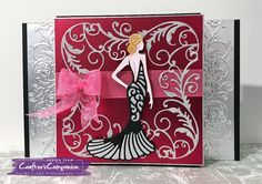 Shaped card created using Sara Signature Glamour Collection - Dressed to Impress. Designed by Linda Fitzsimmons #crafterscompanion
