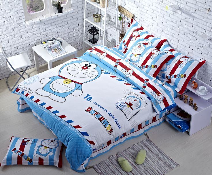 Doraemon Cartoon Bedding Bule And White Comforters