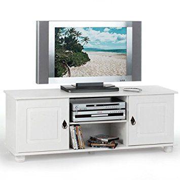 Meuble TV BELFORT 2 portes + 1 niche \u0027Lasuré blanc\u0027 TV - Box