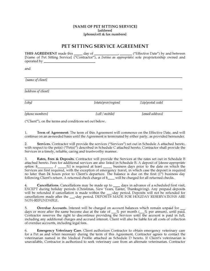 28 pet sitting contract template in 2020 contract
